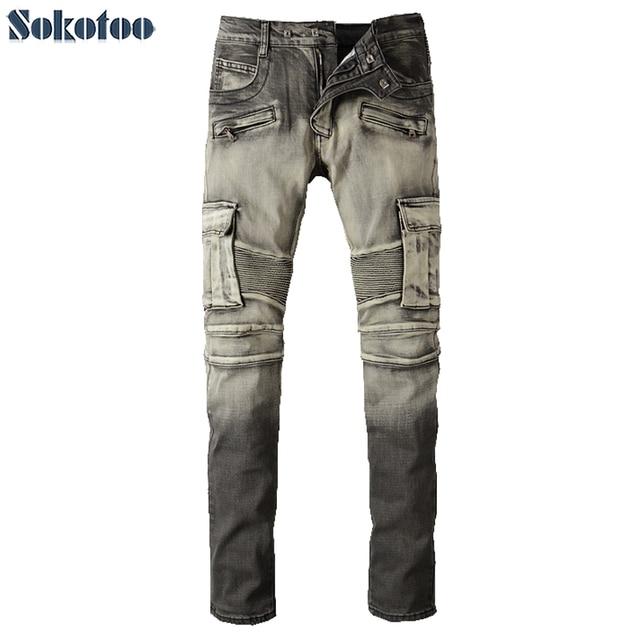 607c54a0c4bd US $50.0  Sokotoo männer vintage taschen schlank biker jeans für motorrad  Lässige stretch denim cargo pants Lange hose in Sokotoo männer vintage ...