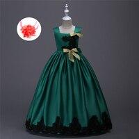 Ragazze Dei Vestiti Dei Bambini Dell'abito di Sfera 6 7 8 Compleanno Matrimonio Formale Usura del partito Dei Capretti Abito Lungo Abito Verde Rosso Giallo Blu Viola