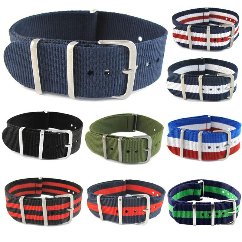 James Bond 007 Army Sports Nato Fabric Nylon WatchBand 18 20 22 Mm Black Blue Buckle   Belt Canvas For Men Watch Strap