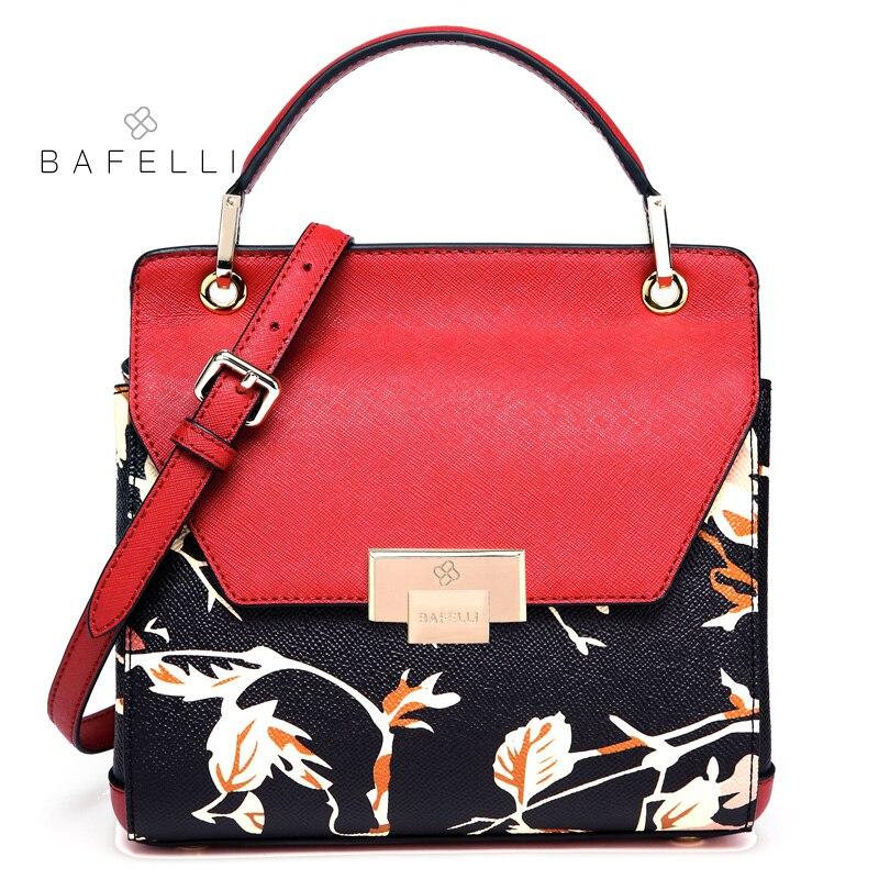 BAFELLI women handbag split leather flower printing trunk shoulder bag for women crossbody bag bolsos mujer women bag 4 colors цена и фото