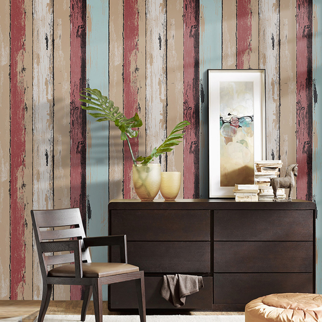 Haokhome Vintage Wood Panel L And Stick Wallpaper Roll Red Brown Self Adhesive Contact Paper