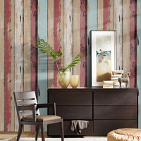 HaokHome Wood Panel Peel And Stick Wallpaper 23 6 X 19 7ft Dk Red Blue Brown
