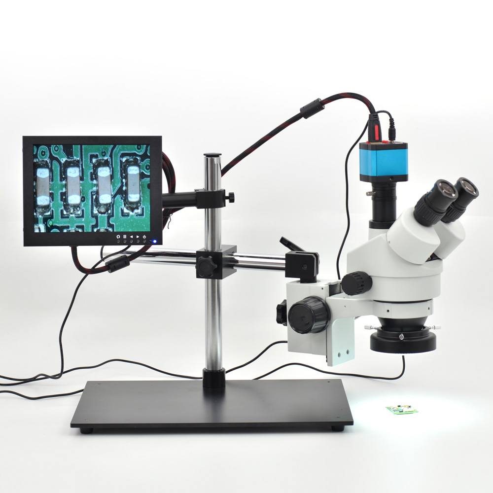 7X-45X Table Pillar Stand Zoom Magnification Binocular Stereo Microscope Inspect PCB + 14MP Microscope Camera + 8'' LCD Monitor free shipping 3 5x 90x table pillar stand zoom magnification binocular stereo microscope inspect pcb microscope 144led
