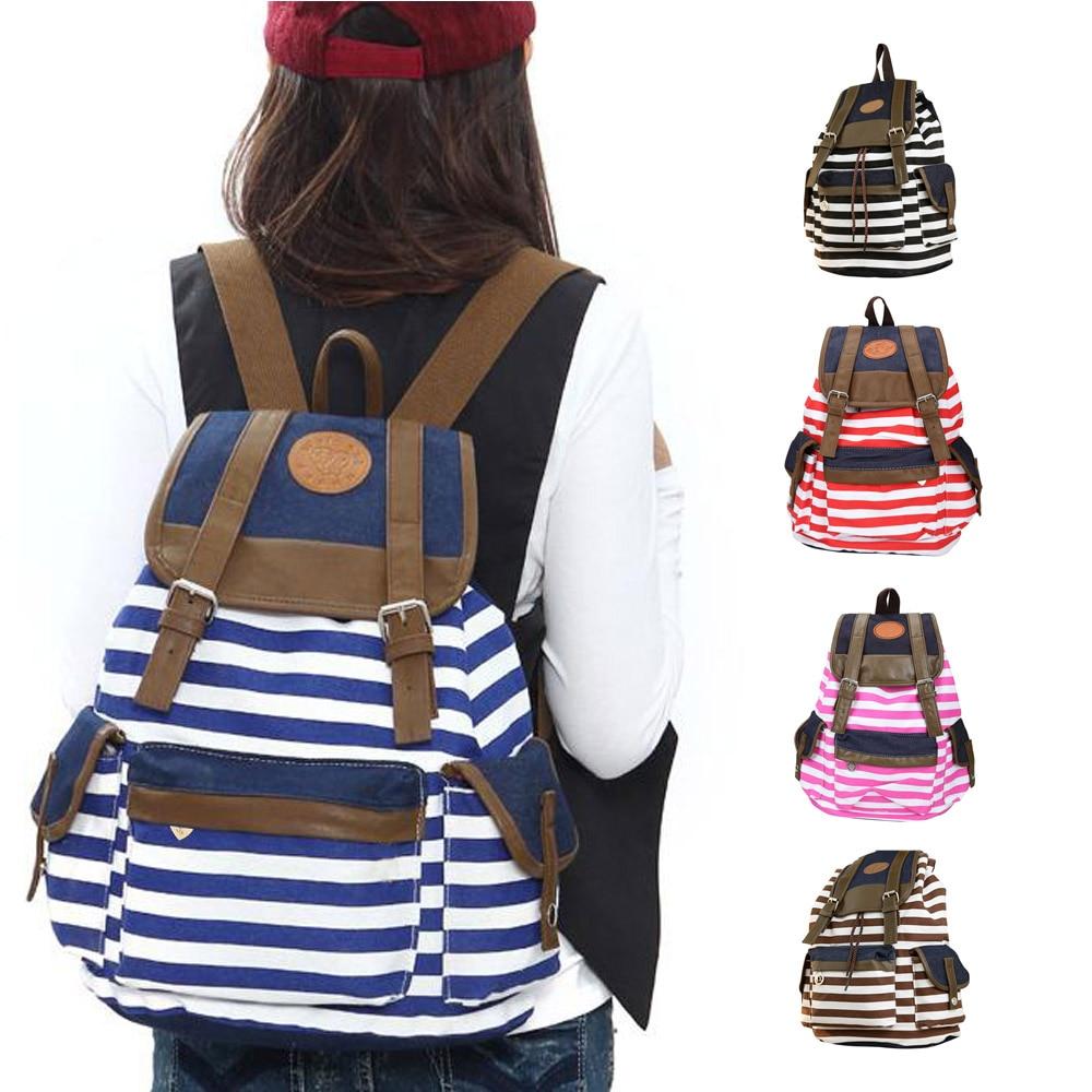 Unisex Fashion Strip Canvas Casual Bag Backpack Satchel for Women Men 5 Colors LXX9