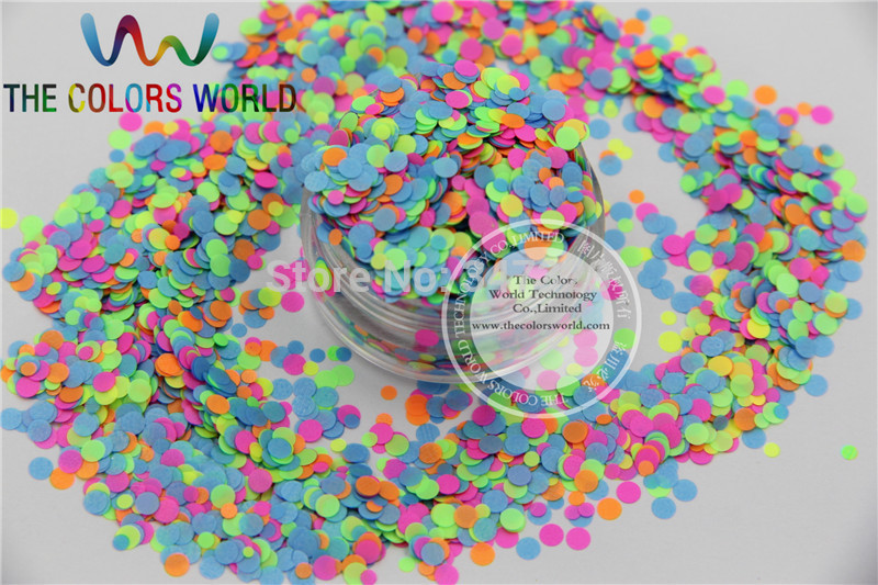RN3516-56 Mix  Neon Color Solvent Resistant Glitter Dot Circle shape Glitter for Nail Polish Acrylic, DIY supplies1pack=50g dn2 39 mix 2 3mm solvent resistant neon diamond shape glitter for nail polish acrylic polish and diy supplies1pack 50g
