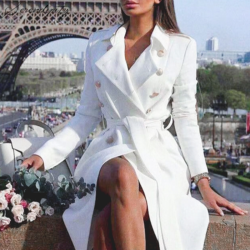 SRDP Vintage double breasted white   trench   coat for women Sashes slim long   trench   female Winter office solid   trench   dress