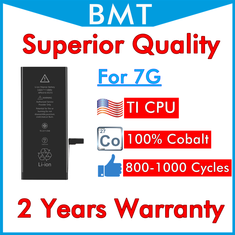 BMT Original 5pcs/lot Superior Quality 1960mAh Battery for iPhone 7 7G replacement repair parts 0 cycle 100% Cobalt Cell TI CPU