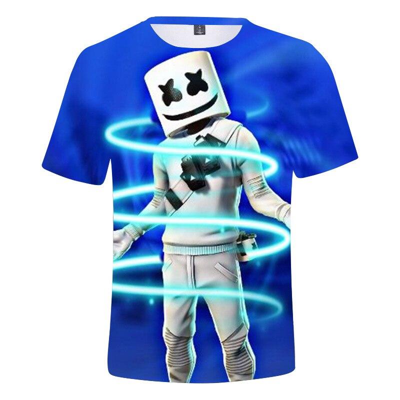 2-13Y Kids Marshmello T-shirt Children Boys and Girls Summer Dj Marshmello Music Tops Tees Fashion Costume Free Shipping