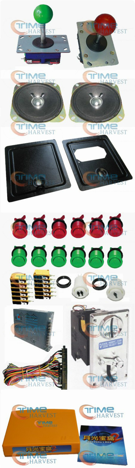 Arcade parts Bundle kits With 400 in 1 PCB Pushbutton Power supply Coin acceptor Joystick to Build Up Arcade Machine By Yourself arcade parts bundles kits with joystick push button microswitch coin door jamma harness to build up arcade machine by yourself