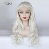 V'NICE Natural Long Boay Wavy Platinum Blonde Wig High Temperature Fiber Brazilian Hair Synthetic Lace Front Wig for Wig