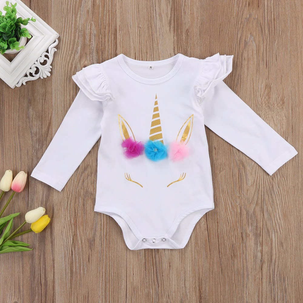 HTB1UdNebOERMeJjy0Fcq6A7opXaY - Newborn Infant Baby Girls Long Sleeve Unicorn Printing Floral Bodysuit for Summer Clothes Outfits Pink/White Jumpsuit