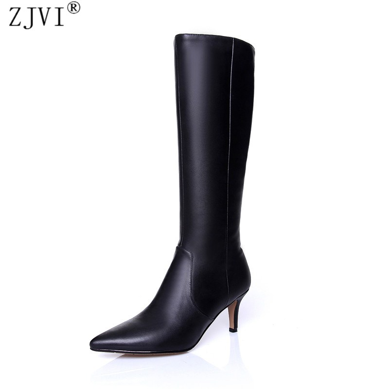 ZJVI woman pointed toe knee high boots ladies autumn winter thigh high boots genuine leather 2018 women thin high heels shoes autumn and winter new ladies genuine
