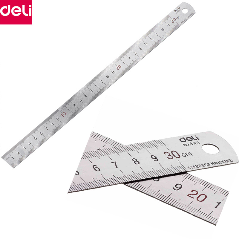 Deli Metal Ruler 30cm 50cm Stainless Steel Straight Ruler Measuring Scale Ruler Art Accessories Office School Supplies