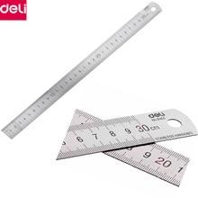 Deli 30cm 50cm Stainless Steel Straight Ruler Measuring Scale Metal Regua Desenho Art School Office Stationery Gift
