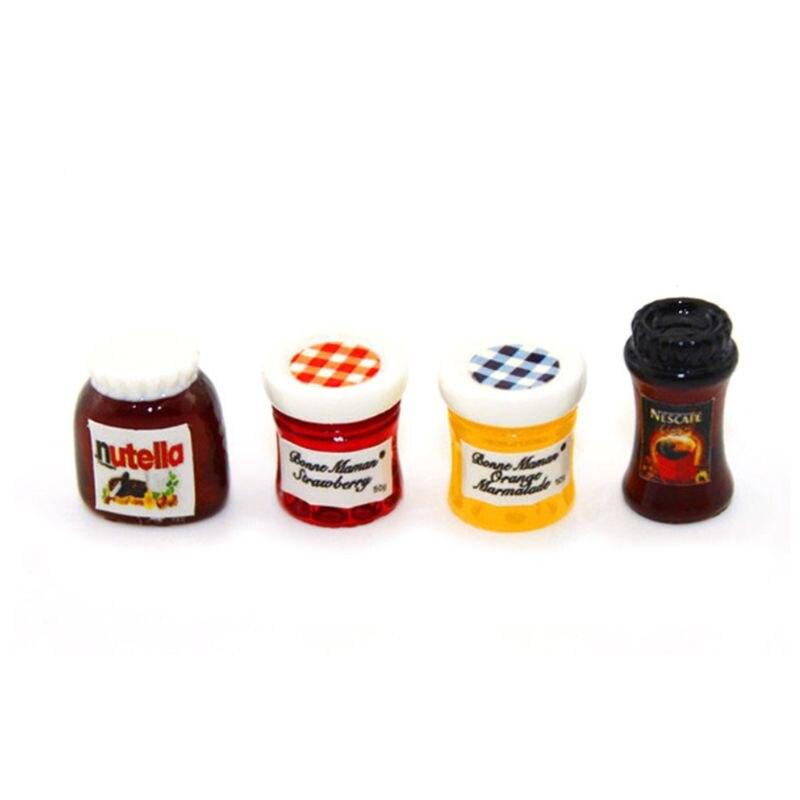 Jar Ketchup Sauce Jam Salad Mini Coffee Kitchen Accessories For 1:12 Dollhouse Miniature Dinner House 4pcs/set