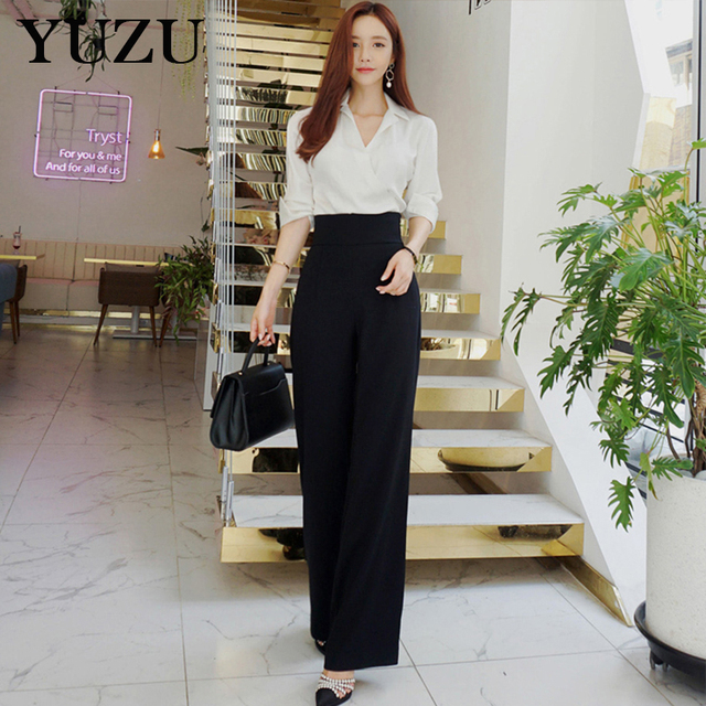 fb4c4c5095dd Business Suits For Women Black Pant And White Shirt Winter 2 Piece Set High  Waist Wide Leg Pants Long Sleeve Kimono Shirt