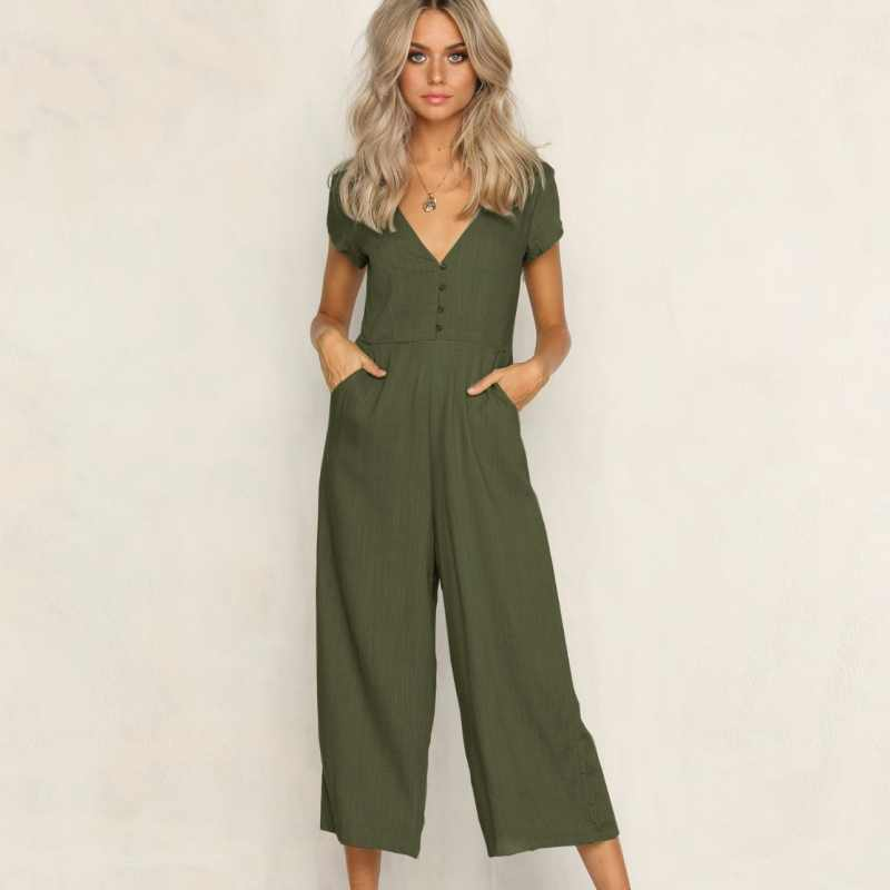 531a5e8e7d4e Sexy Backless Pockets Jumpsuit Summer Romper Women Button High Overalls for  women Split Wide Leg Beach