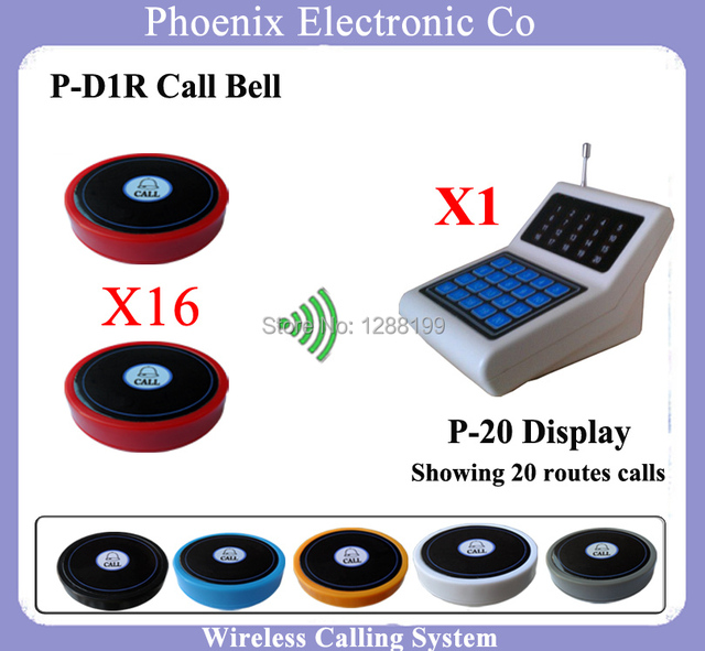 Wireless Sistema de Llamada Del Camarero Sistema de Llamada de Enfermería Sistema de Colas, 16 Botón de Bell D1 y 1 Receptor de la Exhibición P-20