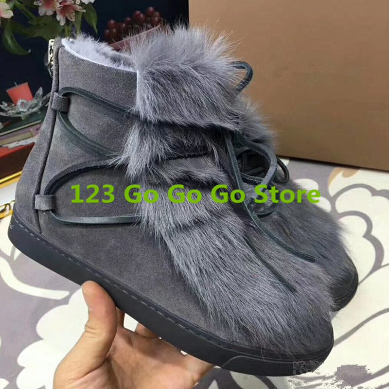где купить Brand Design Women Winter Warm Shoe Booties Front Lace Up Decor Back Zip Boot Snow Boots Fur Embellished Flats Chaussures Femmes по лучшей цене
