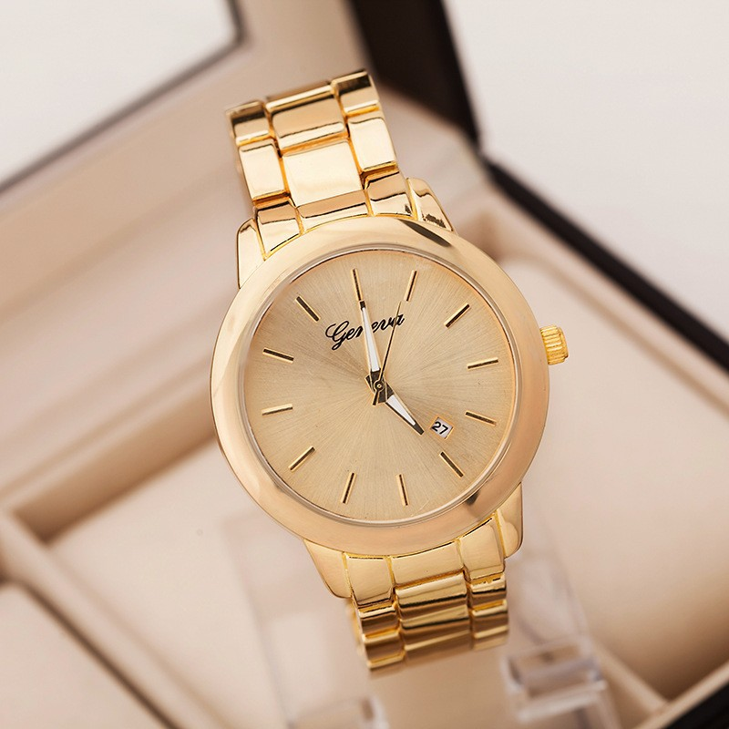 2015 New Fashion Geneva Quartz Wristwatch Casual Women Full Stainless Steel Quartz font b Watch b