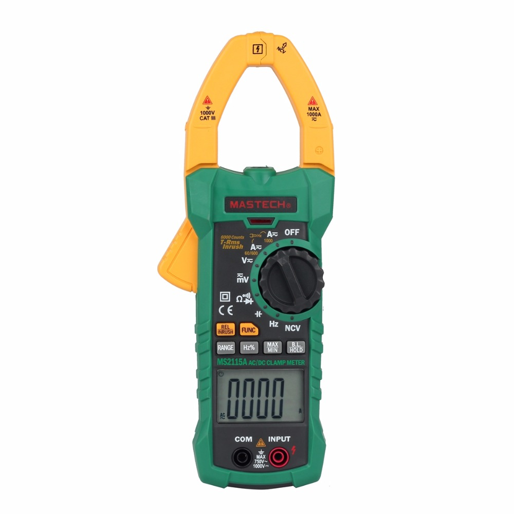 Mastech MS2115A 6000 Counts True RMS Digital Clamp Meter Multimeter AC/DC Voltage Current NCV Resistance Multi Tester mastech ms8250c autoranging digital multimeter true rms low pass filtering 6600 d a display ncv usb data transmission
