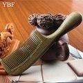 Ybf manija redonda engrosamiento peine de madera de sándalo verde para masajeador antiestático pettine nupcial de la boda de madera brosse cheveux