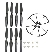 VISUO XS809 XS809S XS809W XS809HW 8PCS Propeller +4PCS Protective Cover Four-axis Aircraft Drone Blade Protector Black