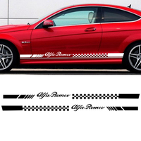 2pcs Car Stripes Flags For Alfa Romeo Vinyl Lower Door Decal Side Stickers Da S004