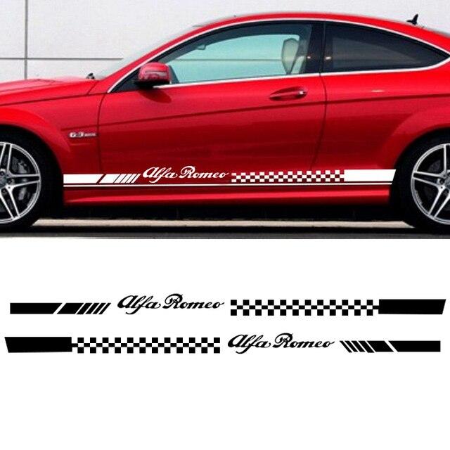 2pcs Car Stripes Flags For Alfa Romeo Vinyl Lower Door Decal Side