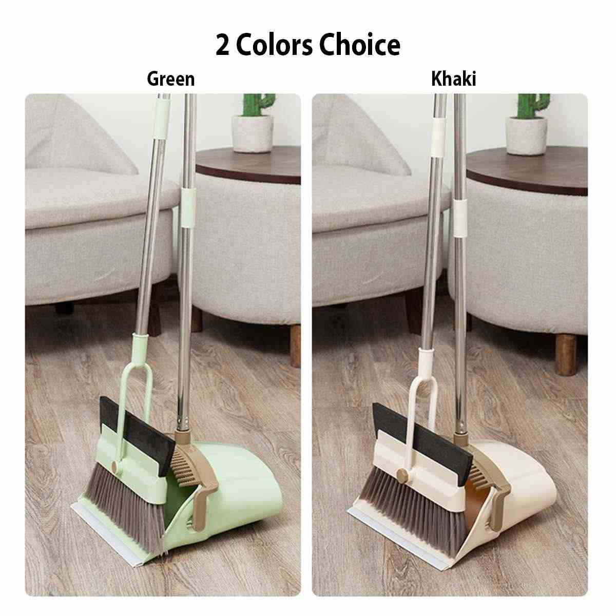 Household Cleaning Tool Broom Dustpan Set Anti-winding Foldable Rotating Soft Bristle Floor Non-Slip Handle