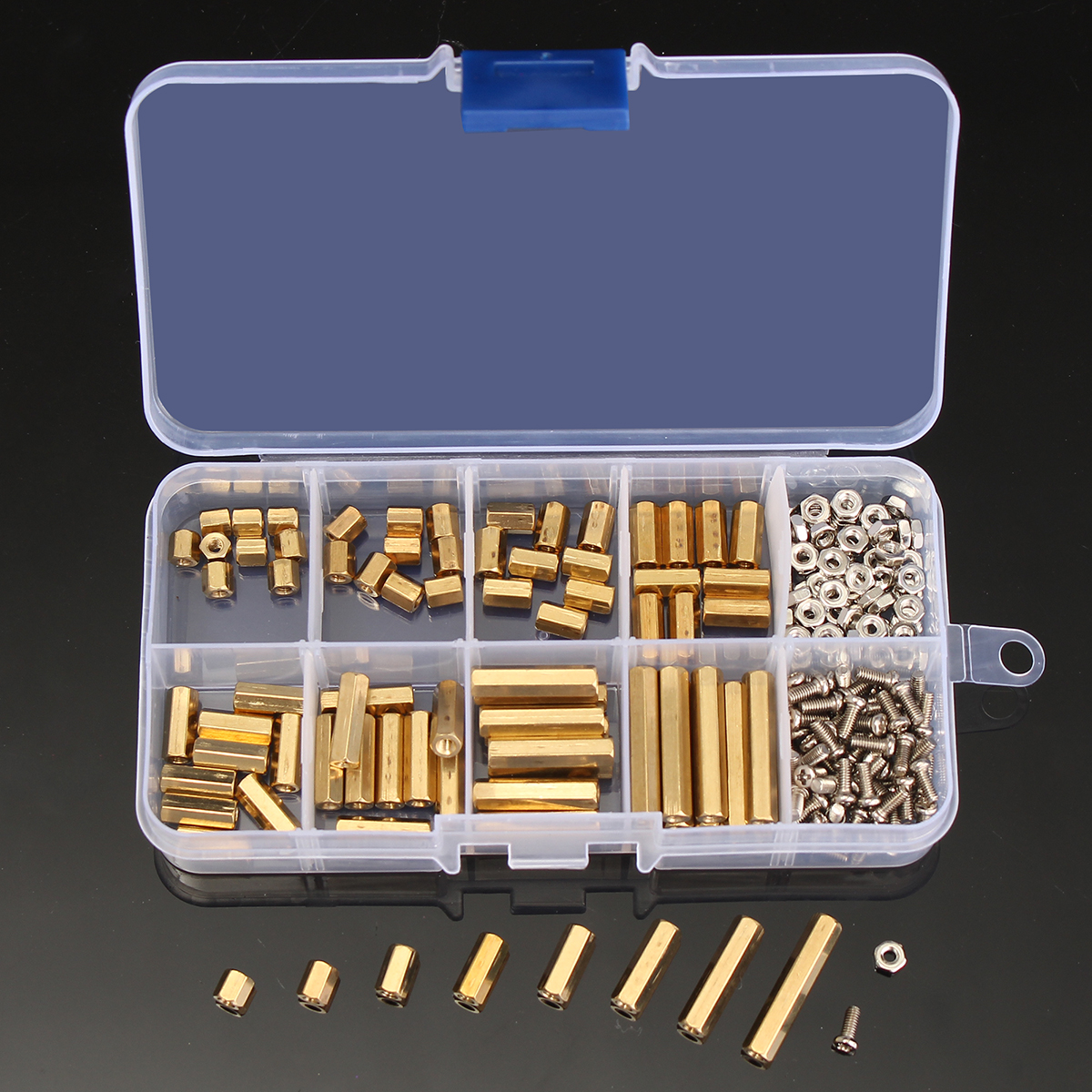240pcs M2.5 2.5mm Brass Standoff Spacer Male x Female With M2.5 Pan Head Screws and m2.5 hex nut Assortment Kit Cap Screw 158mm losmandy dovetail clamp with brass screw and 2 locking screws