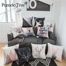 Cushion-Cover Pillowcase Room-Decoration Colorful Nordic Home Print Car Geometric Animal-Deer