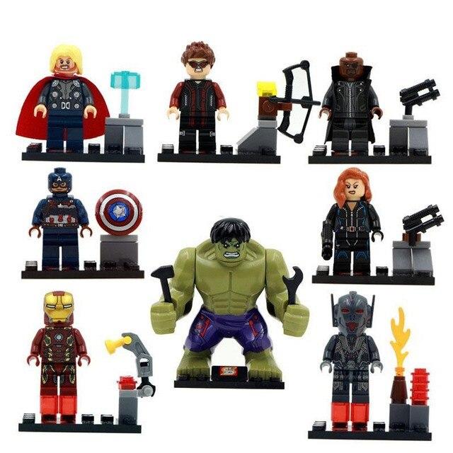8 Pcsset Cina Super Marvel Hulk Avengers Dc Kompatibel Dengan Lego