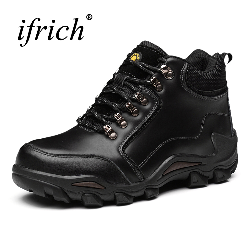 2017 New Winter Mountain Boots Men Black Brown Leather Hiking Boots Lace Up Shoes Climbing Outdoor Sneakers High Top Trainers hot sale winter hiking shoes men breathable outdoor leather trekking lace up sneakers boots brand climbing slip camouflage hunt