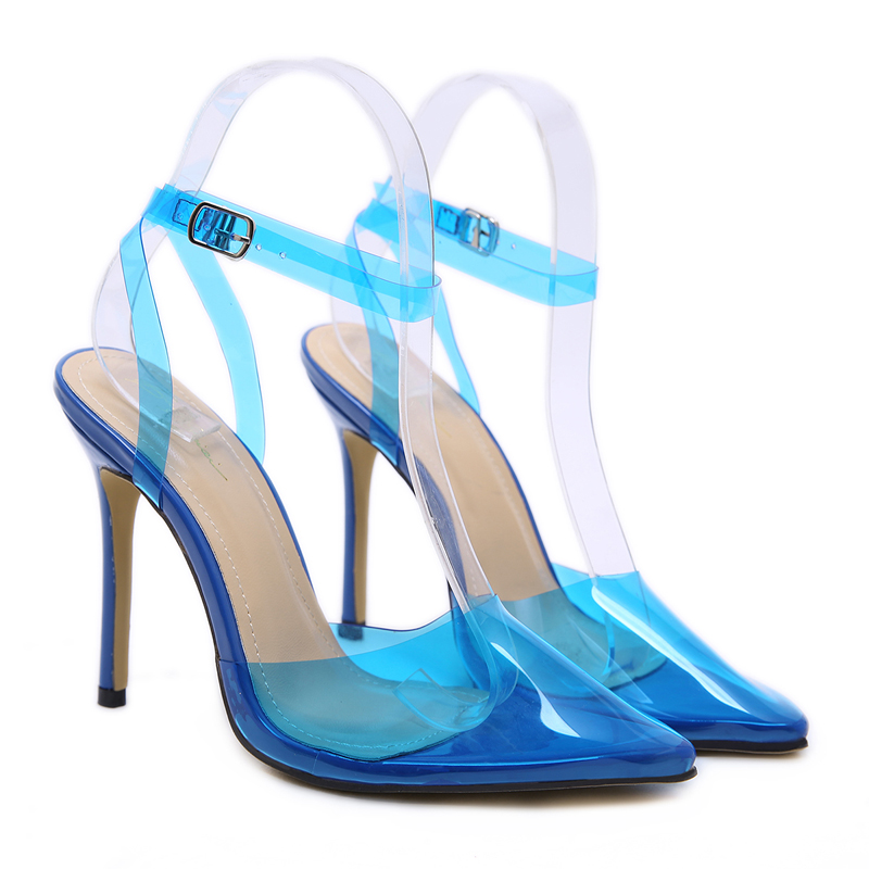 Ladies Shoes With Heels Women Pumps Sexy Clear High Yellow/Blue Pointed Toe Ankle Strap Party 12cm
