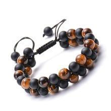 Natural Stone Matte Double Row Beaded Bracelet Hematite Layer Handmade Woven for Men Women