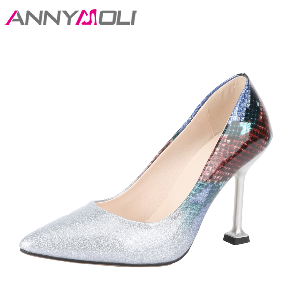 ANNYMOLI Women Pumps High Heels Bridal Wedding Shoes Pointed Toe Bling Sexy Shoes  Plus Size 33 46 2018 Ladies Party Shoes Blue-in Women s Pumps from Shoes ... 455b67089af0
