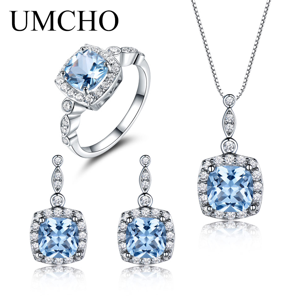 UMCHO 925 Sterling Silver Jewelry Set Nano Sky Blue Topaz Ring Pendant Stud Earrings For Women Party Fine Jewelry Top Quality