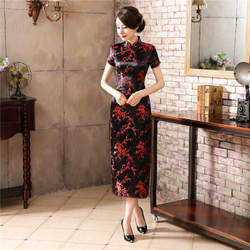 Черный, красный китайское традиционное платье женские шелковые атласный китайский женский халат винтажный китайский халат летние шорты