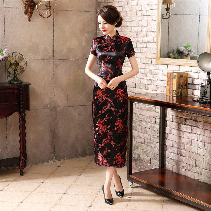 Black Red Chinese Traditional Dress Women's Silk Satin Cheongsam Vintage Qipao Summer Short Sleeve Long Dress Flower Plus Size