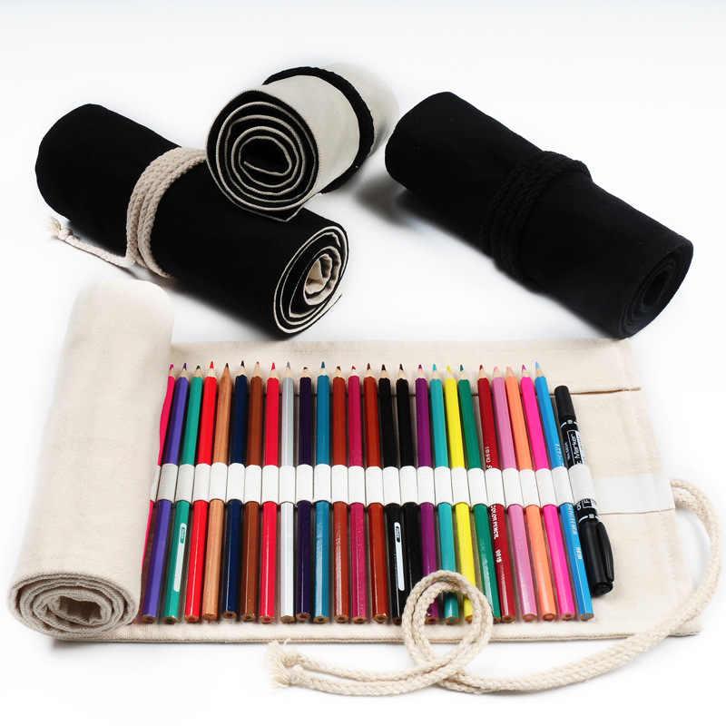 12/18/24/36/48/72 หลุมผ้าใบโรงเรียนดินสอม้วน Pencilcase ขนาดใหญ่น่ารักดินสอสีดำกระเป๋าสำหรับหญิงกระเป๋าเครื่องเขียน