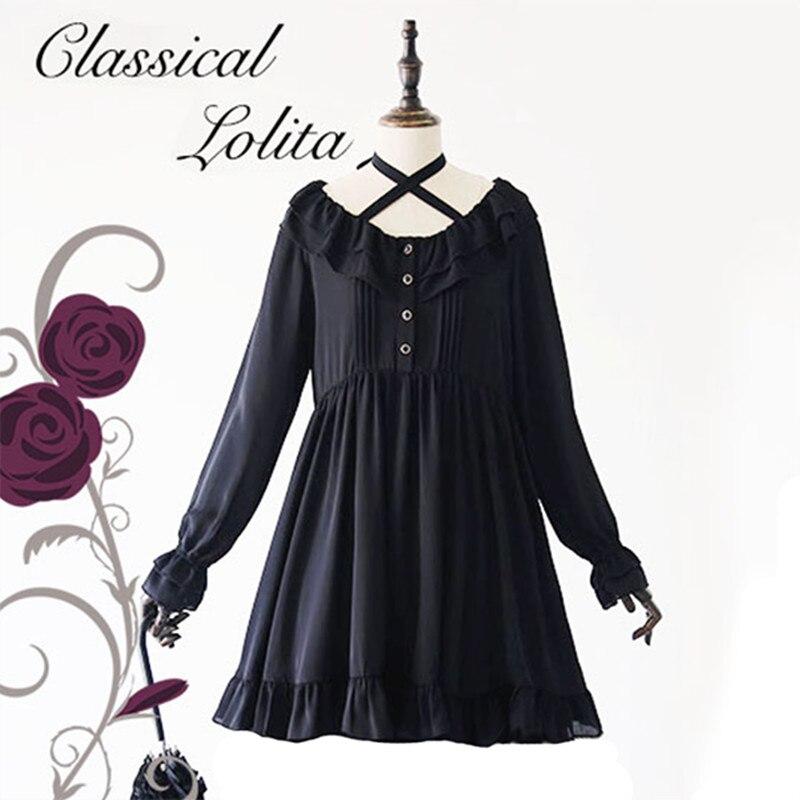 Di Stile di Lolita Abito di Chiffon Nero Vintage Retro Delle Donne di modo Reale Della Principessa Vestito Chiffon Volant Grande Formato Allentato Elegante Della Signora Abiti-in Abiti da Abbigliamento da donna su  Gruppo 1
