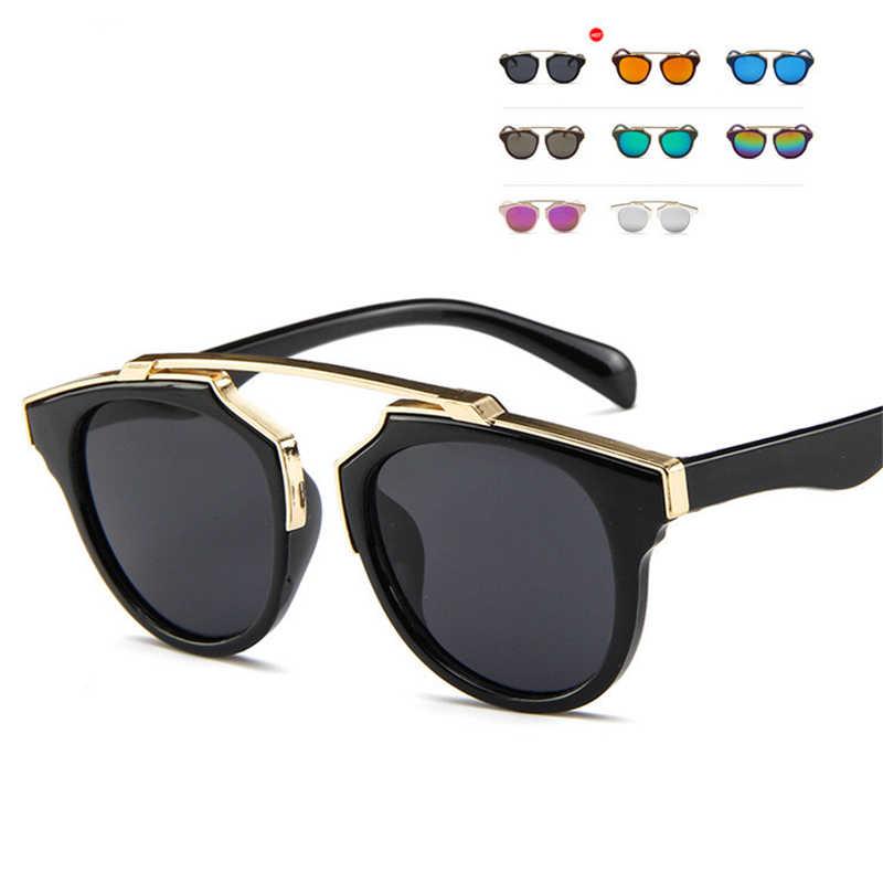 65bc68073ee9 Children's Cat Eye Glasses Vintage Brand Designer Rose Gold Mirror  Sunglasses For Women Metal Reflective flat