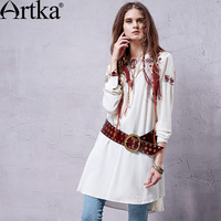 Artka Women S Spring Newlook Ethnic Red Embroidery Tied V Neck Comfy Linen Loose Medium Style