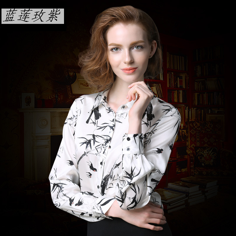 2017 spring fashion silk shirt female long sleeve print turn down collar slim plus size silk