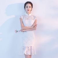 White Sexy Lace Flower Vintage Chinese Women Dress Slim Mandarin Collar Mini Qipao Lady New Arrival