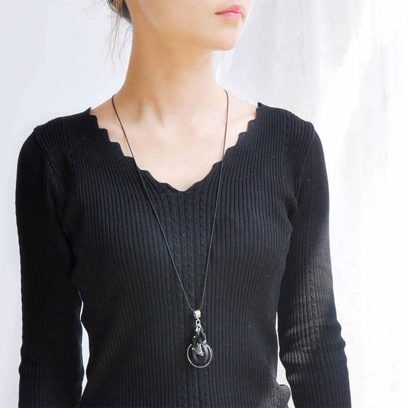 2018 nowy gorący długi naszyjnik prosty sweter akrylowy wisiorek Trendy elegancki naszyjnik dla kobiet najlepszy prezent modny kołnierz naszyjniki