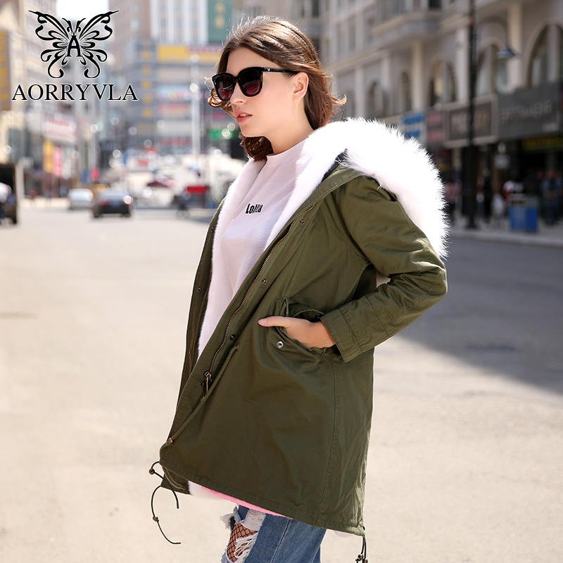 AORRYVLA 2018 Winter Jacket Women   Parka   Long Natural Real Raccoon Fur Collar Hooded Coat Detachable Lining Casual Warm Jacket