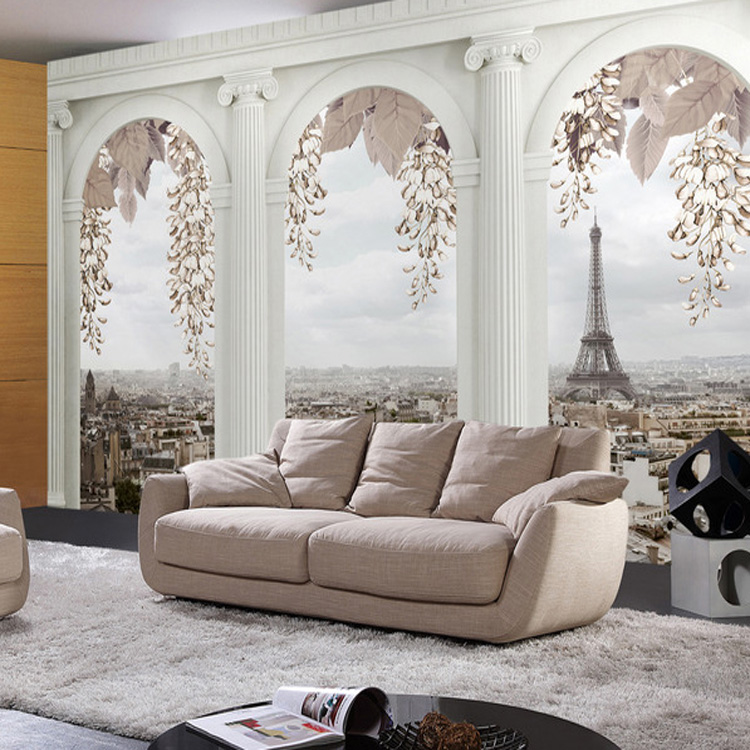 Free Shipping 3D stereo tree wallpaper aisle corridor porch decoration white wall tree leaf wallpaper mural  free shipping european 3d relief murals aisle porch corridor classical style wallpaper rich tree rose vase mural
