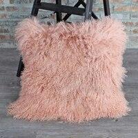Light Pink Mongolian Fur Pillow Cover Curly Tibetan Fur Cushion Cover Cushions Home Decor Sofa Home Pillow case Almofadas New